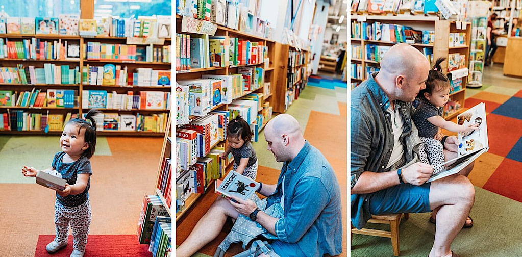 father and daughter in bookstore reading children's books together